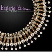 Vendome Glamazon Faux Pearls and Rhinestones Bib Necklace