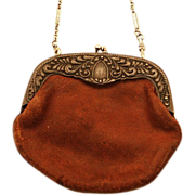 Antique Leather Coin Purse with Chain - Just Darling!