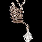 OOAK Susan Davison Sterling Silver Wing Pendant with Swarovski Accent