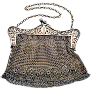 SOLD Antique German Silver Mesh Handbag