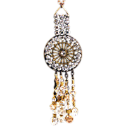 OOAK Davison Brass Chain, Swarovski Crystal and Vintage Belt Buckle Necklace