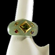 Amazing Genuine Green Jade Ring with 14k Gold Framed Gemstones
