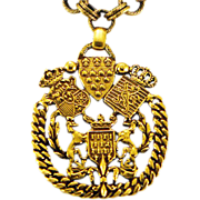 """Bold, Brass Military Style """"Reinad"""" Pendant with Heavy Chain"""