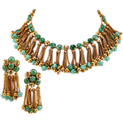 Stunning Robert DeMario Regal Green Glass and Brass Necklace and Earrings Set
