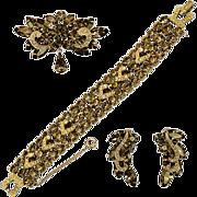 "Glorious Weiss Hard To Find ""Black Diamond"" Rhinestone Earrings, Bracelet, and Brooc"