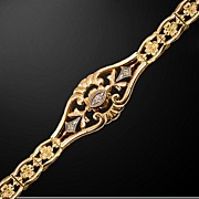 Edwardian Era 14K Yellow Gold and Diamond Bracelet