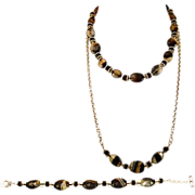 Banded Agate OOAK Davison 3-Piece Necklace and Bracelet Set with Sterling Silver