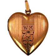 Large 12K Yellow Gold Plated Heart Locket with Vintage Baby Pictures