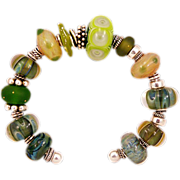 OOAK Davison Sterling Silver and Soft Greens and Citron Artisan Glass Beads