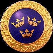 Iconic Cobalt-Blue Enamel Sporrong Brooch with Tre Kronor Motif