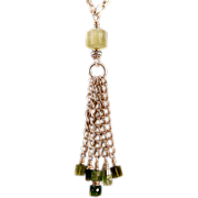 OOAK Davison Green Tourmaline, Prehnite, and Sterling Silver Necklace
