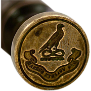 Very Unusual Enchanting Antique Desk Wax Seal with Latin Sentiment