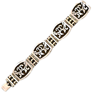 Amazing Estate Find .925 Taxco Mexican Sterling Silver Panel Bracelet 60.7 gms