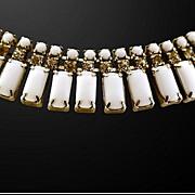 Classic and Elegant Milk Glass and Rhinestones Choker Necklace