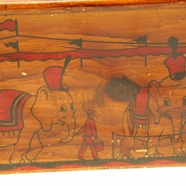 Fun Ca 1950s Wooden Toy Box Chest With Circus Decoration