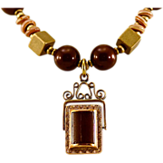 OOAK Davison 10K Gold Antique Carnelian Onyx Spinner Fob, Swarovski Pearl, Brass Necklace