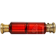 ca 1899 Large Ruby Red Glass Lay Down Double Scent Bottle 18K GP Sterling Lid ...