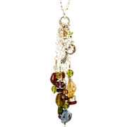 OOAK Davison Loaded with Gemstones Sterling Silver  Necklace