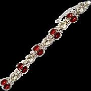 "Stunning Eisenberg ""Original"" Red Chaton & Rhinestone Bracelet"