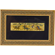 Beautifully Handcrafted Vintage Miniature Persian Painting in Khatam Frame