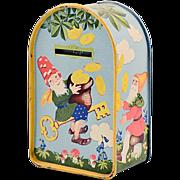 Antique Rare Tin Litho German Gnome/Elf Bank with Original Key
