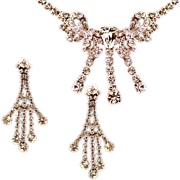 Vintage Hobe Sparkling Rhinestone Elegant Necklace and Earring Set