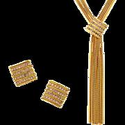 Vintage Hobe Snake Chain & Rhinestone Necklace & Earring Demi-Parure Set