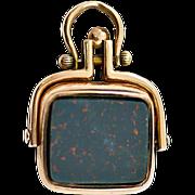 Antique 9 Karat Gold & Bloodstone Spinning Watch Fob