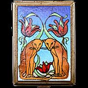 Beautiful Art Deco Unusual and Very Unique Enamel Lotus and Lion Cigarette Case