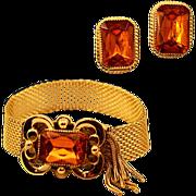 Whiting & Davis Unique Closure Gold-Tone Mesh Earring & Bracelet Demi-Parure