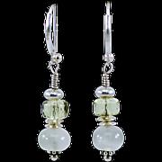 OOAK  Davison Sterling Silver, White Moonstone & Lemon Quartz Earrings