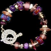 OOAK Davison Sweet Mauves, Pinks and Lavenders Lampwork Sterling Silver, Sugilite Bead Bracele