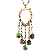 OOAK Davison Brass, Swarovski Crystal, and Ruby-Zoisite Bead Necklace