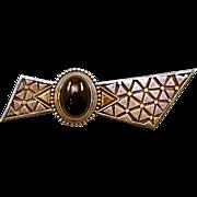 Vintage Sterling Silver & Black Glass Cabochon Brooch