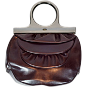 Vintage Very Rare Schiaparelli Burgundy Handbag with Matching Coin Purse