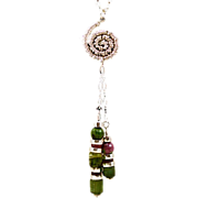 OOAK Davison Necklace Ruby Zoisite and Raw Tourmaline and Sterling Silver