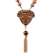 Stunning OOAK Davison Vintage Belt Buckle Necklace with Mix of Freshwater and Tahitian Brown P