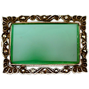 Lovely Antique Gem Quality Chrysoprase and Marcasite Brooch