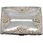 ca 1896 Chester Hallmarked Very Large Sterling Repousse Calling Card Case 87 gms.