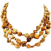 Beautiful Hattie Carnegie Multi-Strand Necklace in Neutral Shades