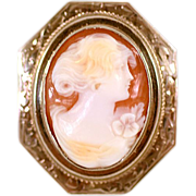 Antique Sterling Silver Framed Shell Carved Cameo with Beautiful Woman