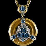 Stunning Rare McClelland Barclay Brass, Blue & Clear Rhinestones Necklace