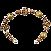 OOAK Davison Sterling Silver, African Trade Bead & Lampwork Bead Cuff Bracelet
