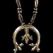"Vintage ca 1940s-'50s Navajo Sand Cast Large Naja ""Nickel"" Silver Necklace"