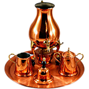 Vintage Royal Holland Daalderop Rare 5-Piece Copper Coffee Set