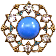 Lovely Vintage Rhinestone and Enamel Brooch with Six-Sided Design