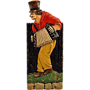 SALE PENDING Vintage Folk Art Carved Whimsical Man Playing Accordion Match Stick Box