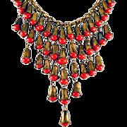 ca 1930's-40's Red Glass & Brass Bib Style Necklace Amazing