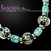 OOAK Davison Bold and Beautiful Blown Art Glass & Turquoise Necklace