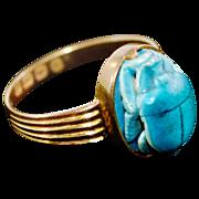 Rare Vintage 18 Karat Gold English Hallmarked Porcelain Scarab Ring with Hieroglyphics